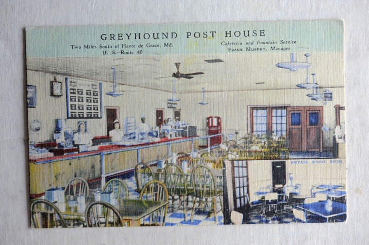 Postcard of the Greyhound Post House along Route 40 near Havre de Grace. (Lloyd Fox/Sun Photographer)