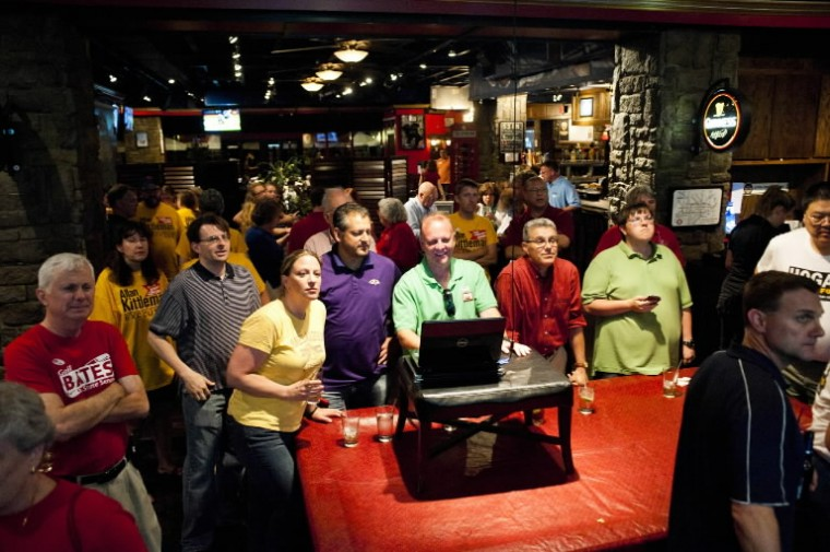 Republican activists watch primary election results come in at Union Jacks in Columbia on Tuesday, June 24. (Noah Scialom/BSMG)