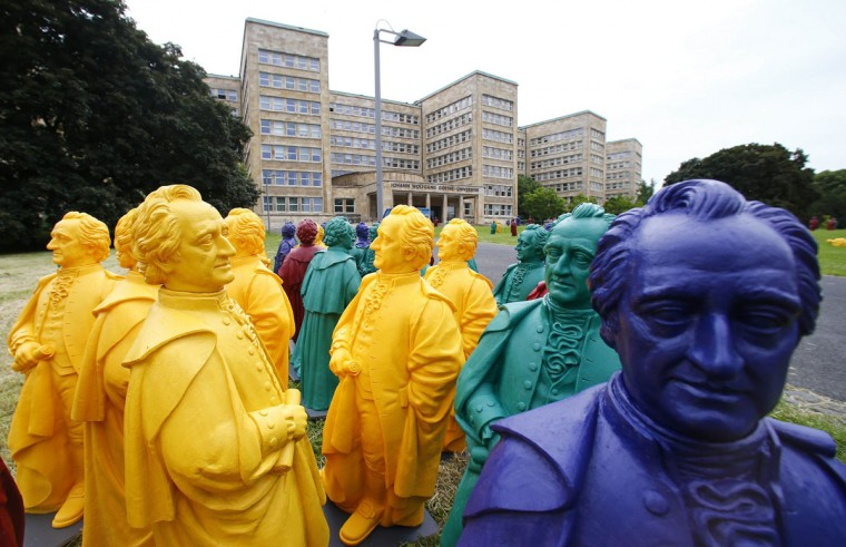 Johann Wolfgang von Goethe plastic statues, designed by Ottmar Hoerl stand in front of the Goethe University in Frankfurt June 4, 2014. On the occasion of the centenary of the Goethe University German concept artist Hoerl is presenting his installation project that can be seen from June 11 to July 20, 2014. (Ralph Orlowski/Reuters)
