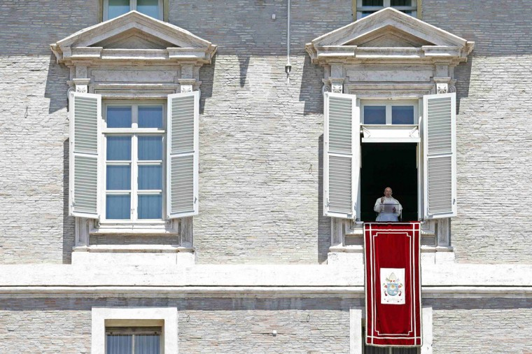 Pope Francis delivers his Regina Coeli prayer from the window of the Apostolic Palace in Saint Peter's Square at the Vatican June 8, 2014. (Giampiero Sposito/Reuters)