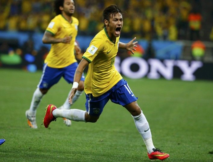 Brazil's Neymar celebrates his goal against Croatia during their 2014 World Cup opening match at the Corinthians arena in Sao Paulo June 12, 2014. (Damir Sagolj/Reuters)