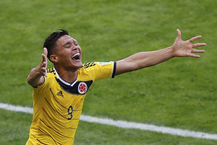 Colombia's Teofilo Gutierrez celebrates after scoring a goal during their 2014 World Cup Group C soccer match against Greece at the Mineirao stadium in Belo Horizonte June 14, 2014. (Leonhard Foeger/Reuters)