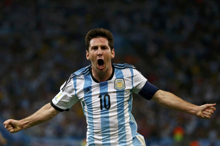 Argentina's Lionel Messi celebrates scoring a goal during the 2014 World Cup Group F soccer match against Bosnia and Herzegovina at the Maracana stadium in Rio de Janeiro June 15, 2014. (Michael Dalder/Reuters)