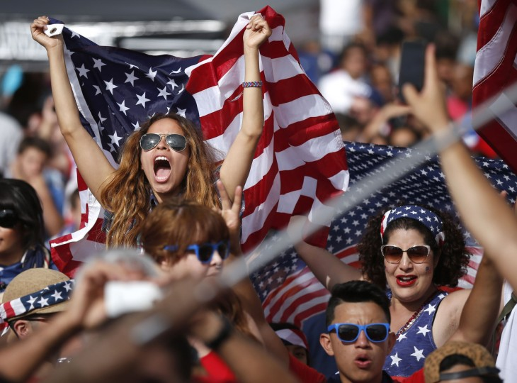 Fans cheer during the 2014 World Cup Group G soccer match between Ghana and the U.S. at a viewing party in Hermosa Beach, California. (Lucy Nicholson/Reuters photo)