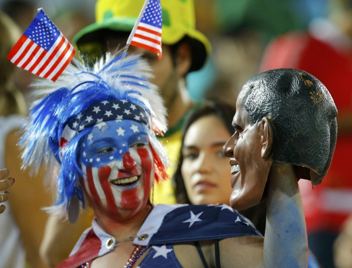A U.S. fan poses at half time at the 2014 World Cup Group G soccer match between Ghana and the USA at the Dunas arena in Natal. (Brian Snyder/Reuters photo)