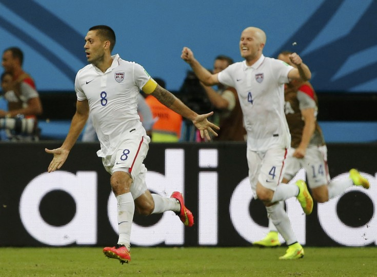 Clint Dempsey (L) of the U.S. celebrates with his teammate Michael Bradley after scoring a goal against Portugal during their 2014 World Cup Group G soccer match at the Amazonia arena in Manaus June 22, 2014. (Jorge Silva/Reuters)