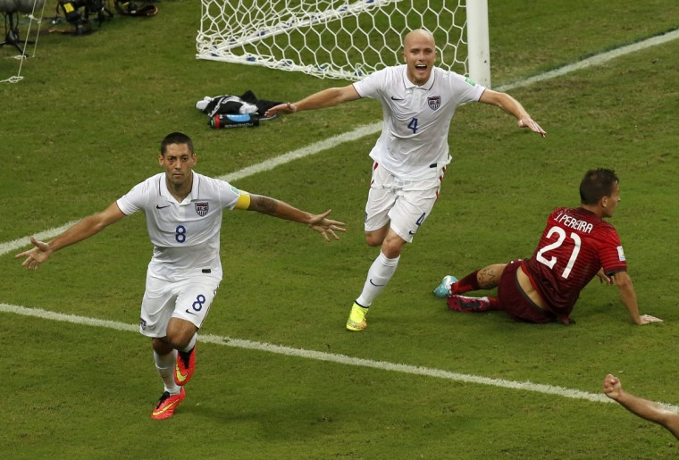 Clint Dempsey (L) of the U.S. and Michael Bradley celebrate after Dempsey scored his team's second goal during their 2014 World Cup Group G soccer match against Portugal at the Amazonia arena in Manaus June 22, 2014. (Andres Stapff/Reuters)