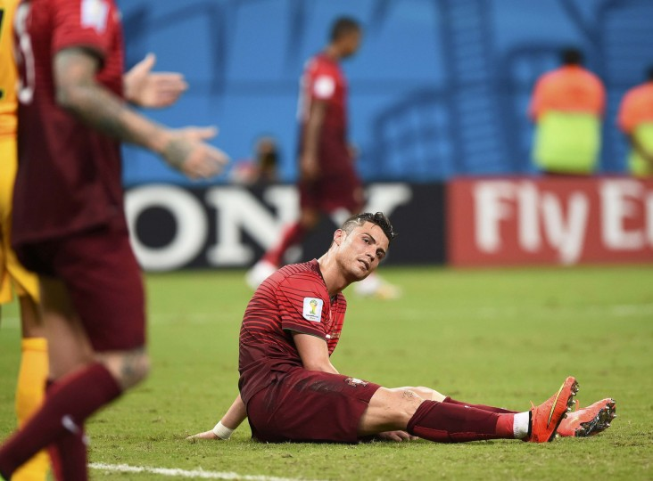 Portugal's Cristiano Ronaldo reacts after missing a chance to score against the U.S. during their 2014 World Cup Group G soccer match at the Amazonia arena in Manaus June 22, 2014. (Dylan Martinez/Reuters)