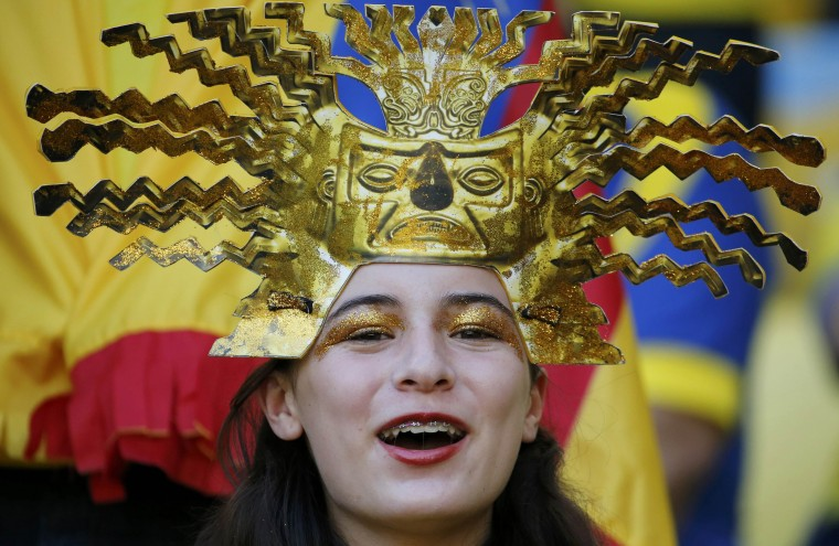 An Ecuadoran fan cheers before the 2014 World Cup Group E soccer match between Ecuador and France at the Maracana stadium in Rio de Janeiro June 25, 2014. (Sergio Moraes/Reuters)