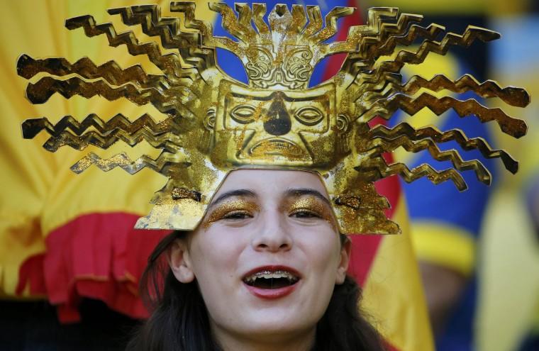 An Ecuadoran fan cheers before the 2014 World Cup Group E soccer match between Ecuador and France at the Maracana stadium in Rio de Janeiro June 25, 2014. (Sergio Moraes/Reuters)