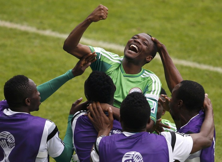Nigeria's Ahmed Musa celebrates after scoring his second goal against Argentina during their 2014 World Cup Group F soccer match at the Beira Rio stadium in Porto Alegre June 25, 2014. (Marko Djurica/Reuters)