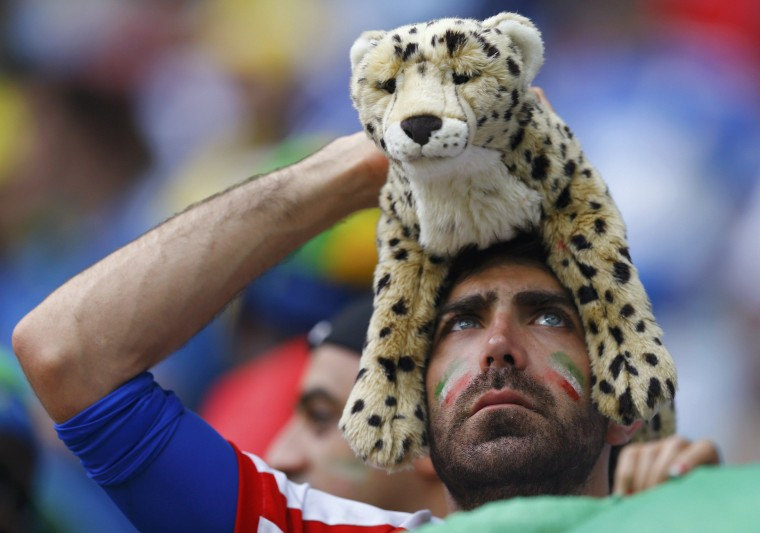 A fan of Iran is pictured after the team was defeated by Bosnia in their 2014 World Cup Group F soccer match at the Fonte Nova arena in Salvador June 25, 2014. (Ivan Alvarado/Reuters)