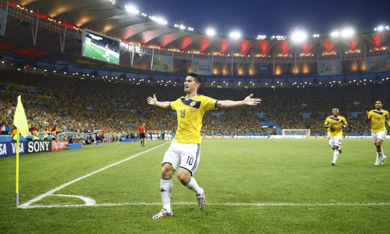 Colombia's James Rodriguez celebrates his goal against Uruguay during their 2014 World Cup round of 16 game. (Kai Pfaffenbach/Reuters)