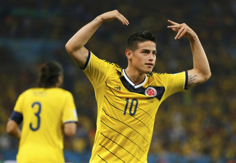 Colombia's James Rodriguez celebrates after scoring his second goal during the 2014 World Cup round of 16 game between Colombia and Uruguay at the Maracana stadium in Rio de Janeiro June 28, 2014. (Sergio Moraes/Reuters)