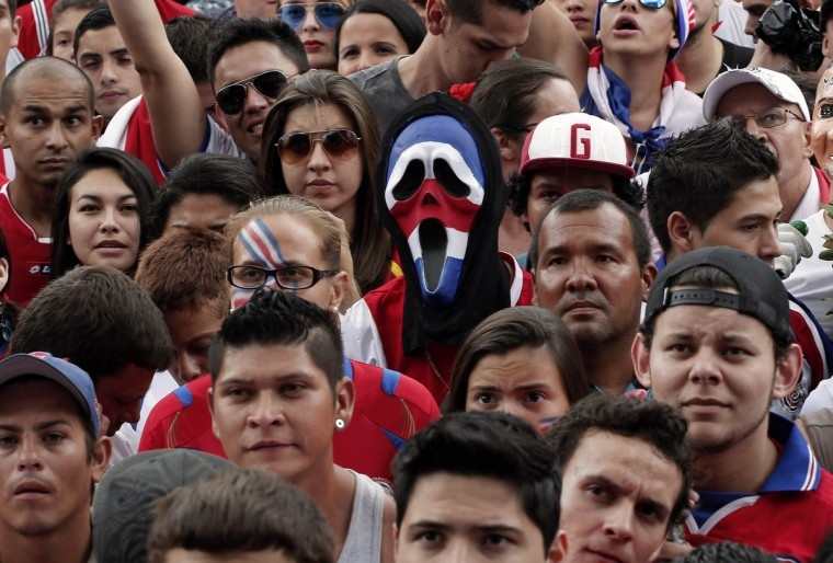 Fans of Costa Rica watch a broadcast of the 2014 World Cup round of 16 game between Costa Rica and Greece, in San Jose June 29, 2014. (Juan Carlos Ulate/Reuters)