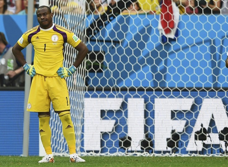 Nigeria's goalkeeper Vincent Enyeama reacts after an own goal by teammate Joseph Yobo (not pictured) during their 2014 World Cup round of 16 game against France at the Brasilia national stadium in Brasilia June 30, 2014. (Dylan Martinez/Reuters)
