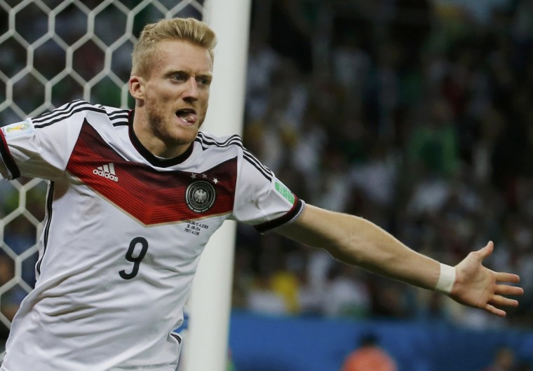 Germany's Andre Schuerrle celebrates his goal against Algeria during extra time in their 2014 World Cup round of 16 game at the Beira Rio stadium in Porto Alegre June 30, 2014. (Edgard Garrido/Reuters)