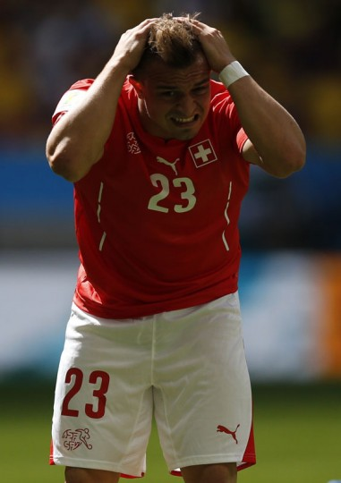 Switzerland's Xherdan Shaqiri reacts during their 2014 World Cup Group E soccer match against Ecuador at the Brasilia national stadium in Brasilia, June 15, 2014. (Ueslei Marcelino/Reuters)