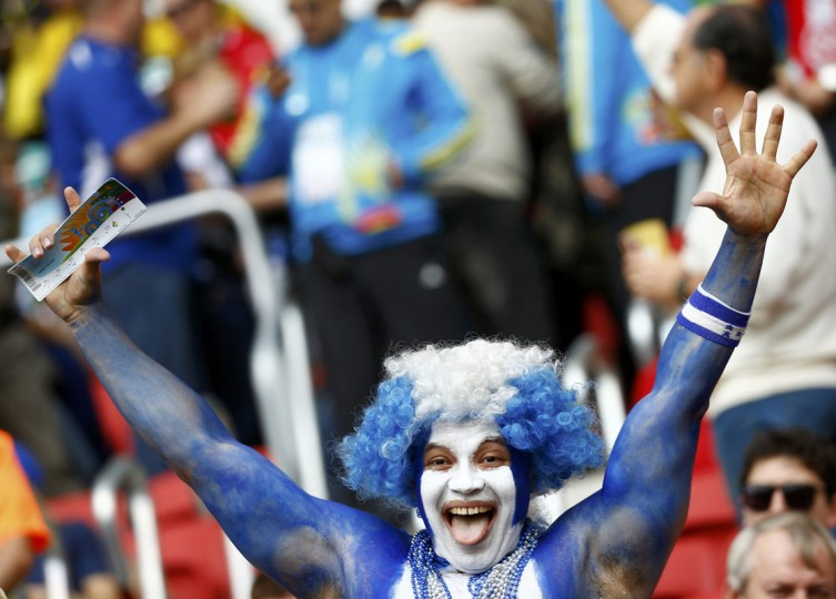 Honduras fans celebrate as they wait for the start of the 2014 World Cup Group E soccer match against France at the Beira-Rio stadium in Porto Alegre June 15, 2014. (Murad Sezer/Reuters)