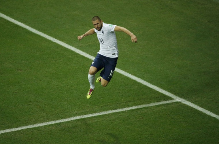 France's Karim Benzema celebrates after scoring a goal during the 2014 World Cup Group E soccer match between Switzerland and France at the Fonte Nova arena in Salvador June 20, 2014. (Fabrizio Bensch/Reuters)