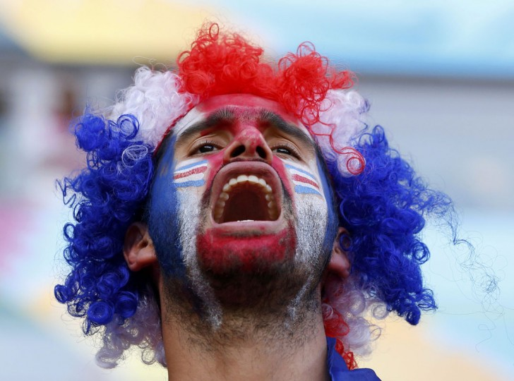 A Costa Rica fan waits for the start of their 2014 World Cup round of 16 game against Greece at the Pernambuco arena in Recife June 29, 2014. (Yves Herman/Reuters)