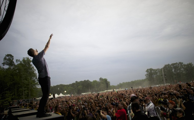 Rock band Imagine Dragons' frontman Dan Reynolds performs during the Firefly Music Festival in Dover June 21, 2014. The four-day festival is set at the 105 acre grounds on the Dover International Speedway where many well known bands will perform. (Mark Makela/Reuters)