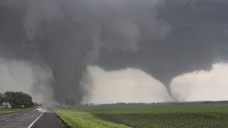 Two tornadoes touch down near Pilger, Nebraska June 16, 2014. Large tornadoes hit rural areas of northeastern Nebraska on Monday afternoon, with reports of property damage, according to forecasters and the Weather Channel. (REUTERS/Dustin Wilcox/TwisterChasers)