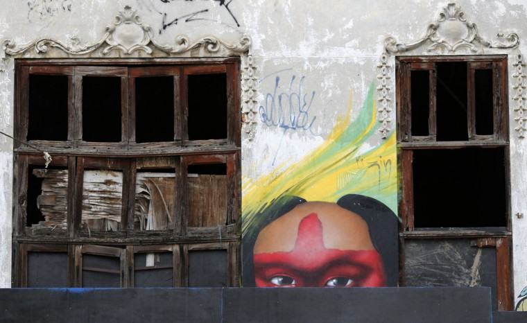 Graffiti at the former Indian Museum is pictured, next to the Maracana stadium, one of the stadiums hosting the 2014 World Cup soccer matches, in Rio de Janeiro. (REUTERS/Sergio Moraes)