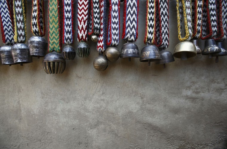 Yak bells are seen outside a shop in Namche, approximately 3,400 meters above sea level in the Solukhumbu District. (REUTERS/Navesh Chitrakar)