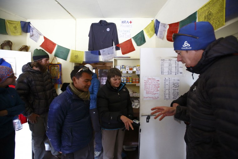 Trekkers have their oxygen level checked at the Himalayan Rescue Association Nepal post in Pheriche, approximately 4,300 meters above sea level, in the Solukhumbu District on May 3, 2014. (REUTERS/Navesh Chitrakar)