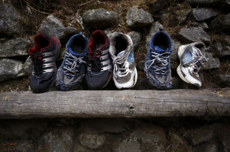 Shoes are left out to dry after being washed, in the Solukhumbu District on April 26, 2014. (REUTERS/Navesh Chitrakar)