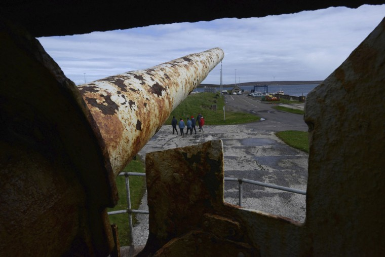 A salvaged gun from SMS Bremse stands in the Lyness museum on the island of Hoy in the Orkney Islands, Scotland on May 6, 2014. (REUTERS/Nigel Roddis)