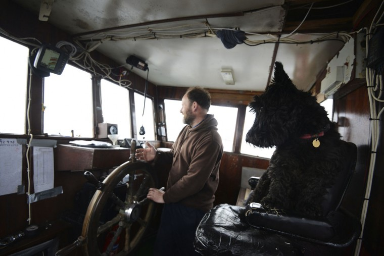 Skipper Angus Budge and his dog Hector take people out to dive on the wreck of a German WWI warship at Scapa Flow, Orkney Islands, Scotland on May 7, 2014. (REUTERS/Nigel Roddis)