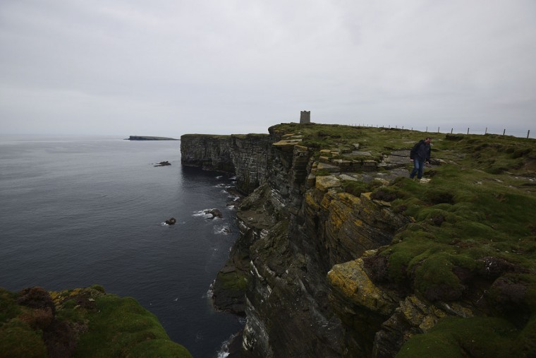 A memorial to Lord Kitchener, who died when the HMS Hampshire hit a German mine on June 5, 1916, is seen at Marwick Head on the Orkney Islands, Scotland on May 3, 2014. Kitchener was on a diplomatic mission to Russia when the HMS Hampshire sank with the loss of over 600 lives. (REUTERS/Nigel Roddis)