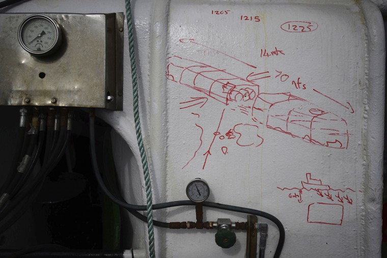 A dive plan of the Tabarka wreck is drawn on a dive boat at Scapa Flow in the Orkney Islands, Scotland on May 6, 2014. (REUTERS/Nigel Roddis)