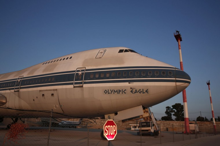 An Olympic Airways airplane stands on the premises of the former Athens International airport, Hellenikon. (REUTERS/Yorgos Karahalis)