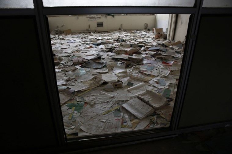 Documents are seen in an office at the former Athens International airport, Hellenikon. (REUTERS/Yorgos Karahalis)
