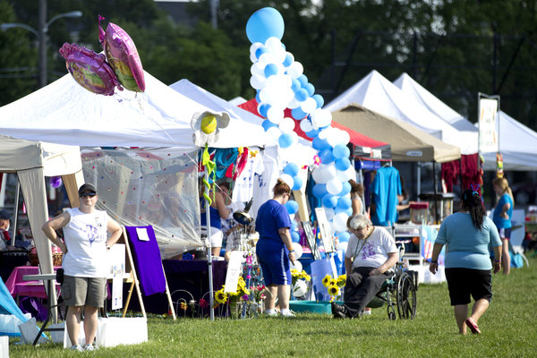 Several walker team tents were set up at the Laurel Relay for Life on June 7. (Jen Rynda, Baltimore Sun Media Group)