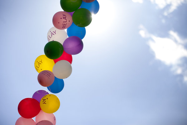 Part of the balloon arch at the Laurel Relay for Life on June 7. (Jen Rynda, Baltimore Sun Media Group)