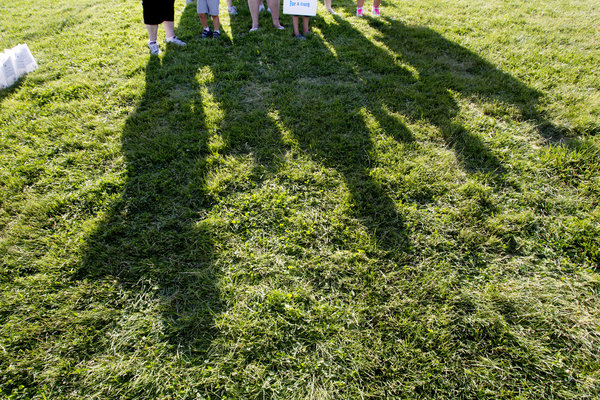 A team waits to start the group lap during the Laurel Relay for Life on June 7. (Jen Rynda, Baltimore Sun Media Group)