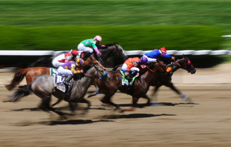 A general view as the horses race during race 5 before the 2014 Belmont Stakes at Belmont Park. (James Lang-USA TODAY Sports)