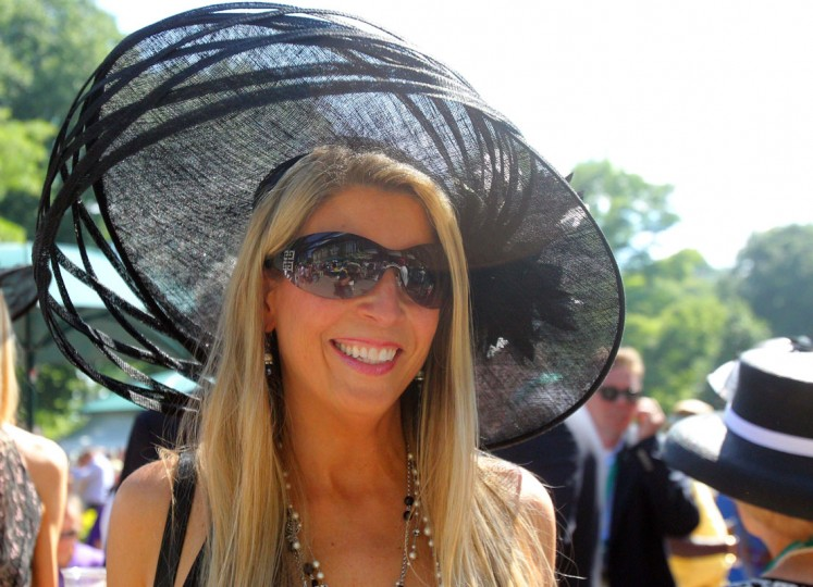 Carolyn Delaney of Washington, DC poses before the 2014 Belmont Stakes at Belmont Park. (Brad Penner-USA TODAY Sports)