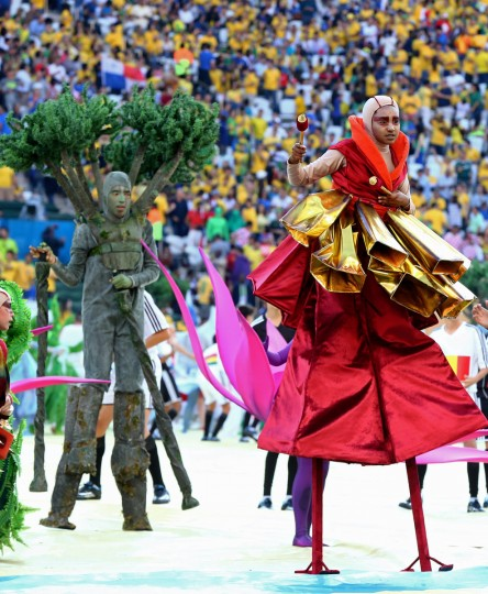 Characters perform during opening ceremonies prior to the game between Brazil against Croatia in the opening game of the 2014 World Cup at Arena Corinthians. (Mark J. Rebilas/USA TODAY Sports)