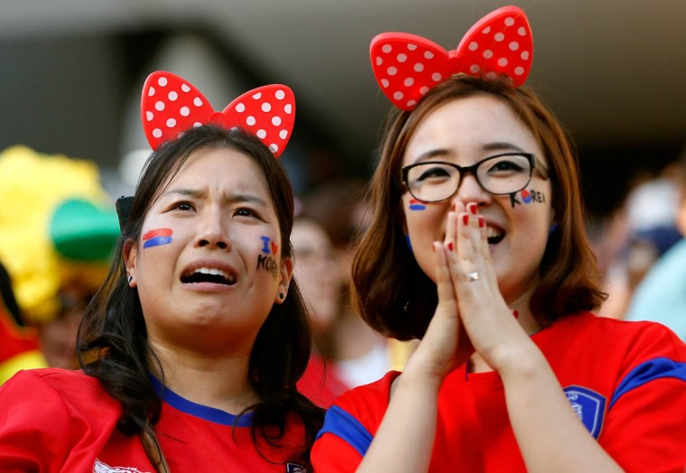 South Korea fans react during the 2014 FIFA World Cup Brazil Group H match between South Korea and Belgium at Arena de Sao Paulo on June 26, 2014 in Sao Paulo, Brazil. (Alexandre Schneider/Getty Images)