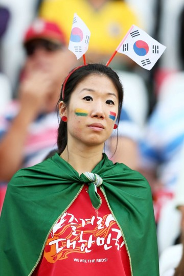 A South Korea fan looks on during the 2014 FIFA World Cup Brazil Group H match between South Korea and Belgium at Arena de Sao Paulo on June 26, 2014 in Sao Paulo, Brazil. (Clive Brunskill/Getty Images)