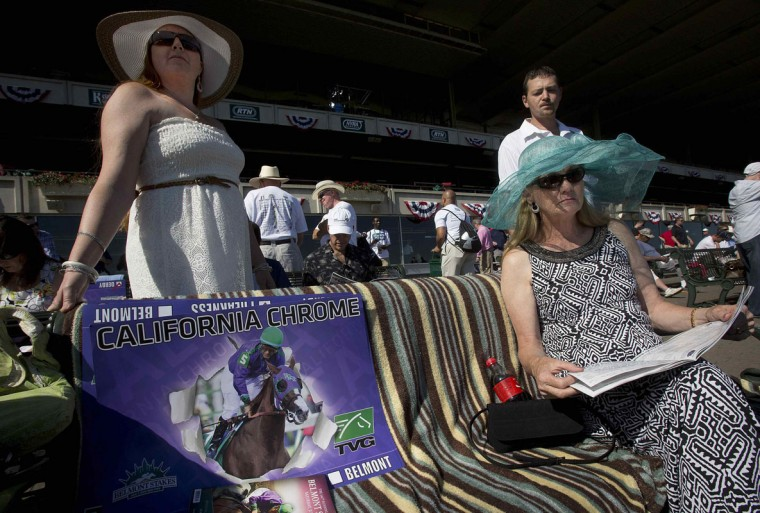A woman wearing a hat sits in the stands with her racing form before the 2014 Belmont Stakes in Elmont, New York June 7, 2014. (REUTERS/Carlo Allegri)