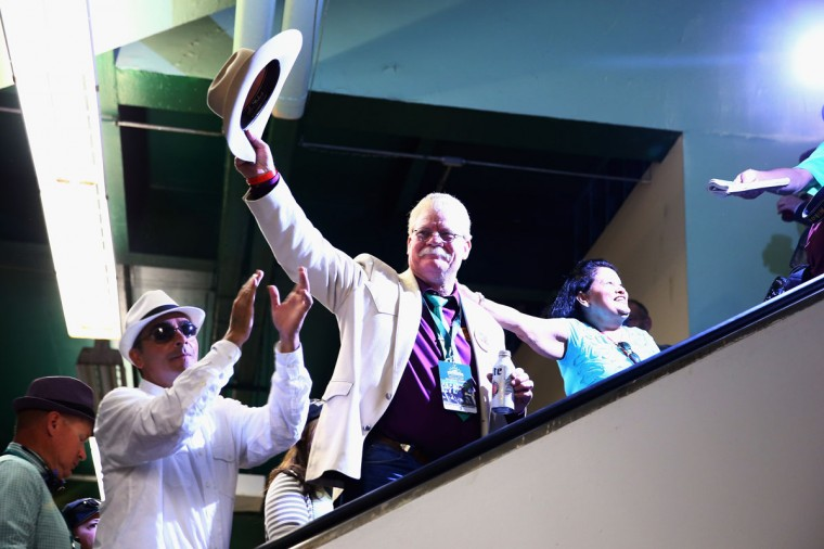Steve Coburn, co-owner of California Chrome waves to fans at Belmont Park on June 7, 2014 in Elmont, New York. California Chrome will be attempting to win the triple crown in the Belmont Stakes. (Photo by Streeter Lecka/Getty Images)