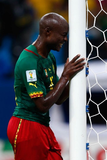 Pierre Webo of Cameroon reacts late in the game during the 2014 FIFA World Cup Brazil Group A match between Cameroon and Croatia at Arena Amazonia on June 18, 2014 in Manaus, Brazil. (Matthew Lewis/Getty Images)