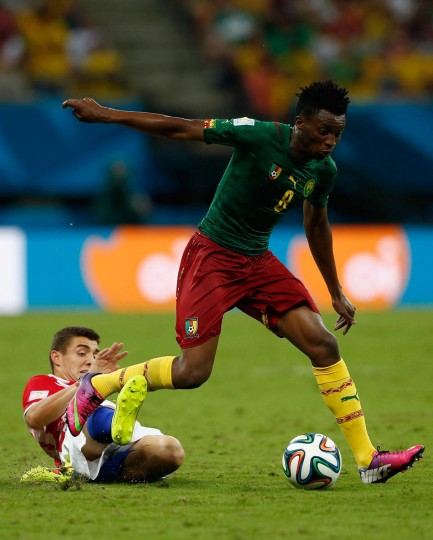 Benjamin Moukandjo of Cameroon controls the ball against Mateo Kovacic of Croatia during the 2014 FIFA World Cup Brazil Group A match between Cameroon and Croatia at Arena Amazonia on June 18, 2014 in Manaus, Brazil. (Matthew Lewis/Getty Images)
