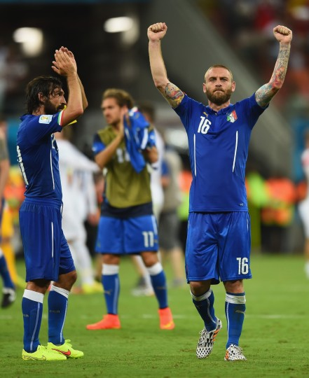 Daniele De Rossi of Italy (right) and Andrea Pirlo (left) celebrate Italy's victory over England in the 2014 FIFA World Cup Brazil Group D match between England and Italy at Arena Amazonia in Manaus, Brazil. (Christopher Lee/Getty Images)
